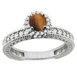 0.95 CTW Tiger Eye & Diamond Ring 14K White Gold - REF-66F2N