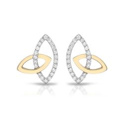 Natural 0.27 CTW Diamond Earrings 14K Two Tone Yellow Gold - REF-32M4F