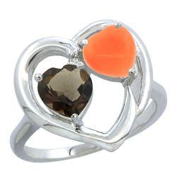 1.31 CTW Quartz & Diamond Ring 14K White Gold - REF-33N5Y