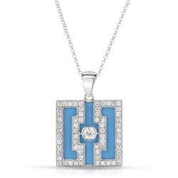 Natural 7.41 CTW Turquoise & Diamond Necklace 18K White Gold - REF-121H5W