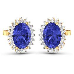 Natural 2.56 CTW Tanzanite & Diamond Earrings 14K Yellow Gold - REF-48H3M