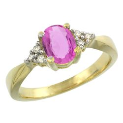 1.06 CTW Pink Sapphire & Diamond Ring 10K Yellow Gold - REF-43X8M