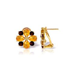 Genuine 4.85 ctw Citrine & Garnet Earrings 14KT Yellow Gold - REF-58K4V
