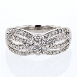 Natural 0.75 CTW Diamond Ring 14K White Gold - REF-75X6T
