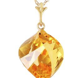 Genuine 11.75 ctw Citrine Necklace 14KT Yellow Gold - REF-26Z7N