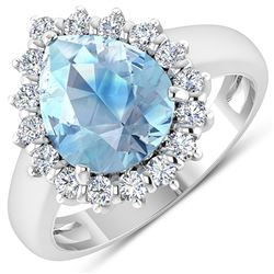 Natural 2.78 CTW Aquamarine & Diamond Ring 14K White Gold - REF-88M7T