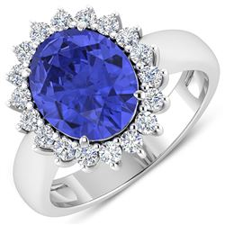 Natural 4.29 CTW Tanzanite & Diamond Ring 14K White Gold - REF-145X3K
