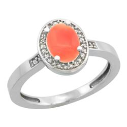 0.15 CTW Diamond & Natural Coral Ring 14K White Gold - REF-37M7K