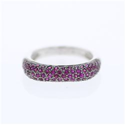 Natural 1.05 CTW Ruby Ring 14K White Gold - REF-49Y5N