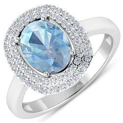 Natural 1.68 CTW Aquamarine & Diamond Ring 14K White Gold - REF-58K9W