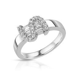Natural 0.38 CTW Diamond & Baguette Ring 18K White Gold - REF-85M5F