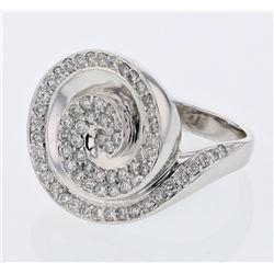 Natural 0.92 CTW Diamond Ring 18K White Gold - REF-186R3K
