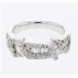 Natural 1.02 CTW Diamond & Baguette Ring 18K White Gold - REF-163M8F
