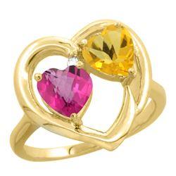 2.61 CTW Diamond, Pink Topaz & Citrine Ring 14K Yellow Gold - REF-33K9W