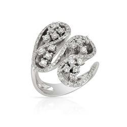 Natural 0.99 CTW Diamond Ring 18K White Gold - REF-249M3F