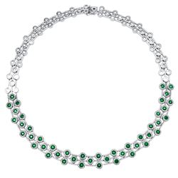 Natural 10.67 CTW Emerald & Emerald Necklace 14K White Gold - REF-750M6F