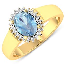 Natural 2.2 CTW Aquamarine & Diamond Ring 14K Yellow Gold - REF-45R6F
