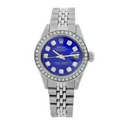 Rolex Pre-owned 26mm Womens Custom Blue Stainless Steel