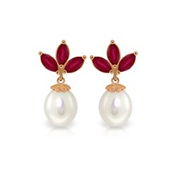 Genuine 9.5 ctw Ruby & Pearl Earrings 14KT Rose Gold - REF-35F2Z