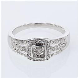 Natural 0.15 CTW Diamond Ring 14K White Gold - REF-40H5W