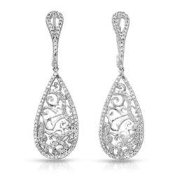 Natural 0.69 CTW Diamond Earrings 14K White Gold - REF-69Y3N