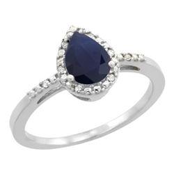 0.85 CTW Blue Sapphire & Diamond Ring 10K White Gold - REF-25M6K