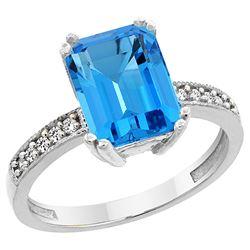 3.70 CTW Swiss Blue Topaz & Diamond Ring 14K White Gold - REF-40X2M