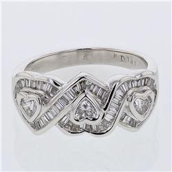 Natural 0.78 CTW Baguette & Diamond Ring 18K White Gold - REF-146R7K