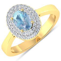 Natural 0.76 CTW Aquamarine & Diamond Ring 14K Yellow Gold - REF-36T9H