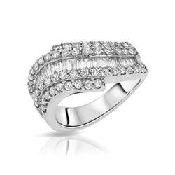 Natural 1.43 CTW Diamond & Baguette Ring 18K White Gold - REF-224X3T