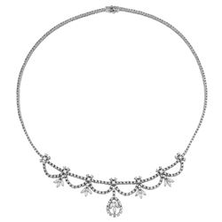 Natural 5.49 CTW Diamond & Marquise Necklace 14K White Gold - REF-574H2W