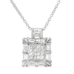 Natural 1 CTW Baguette & Princess Diamond Necklace 14K White Gold - REF-113R4K