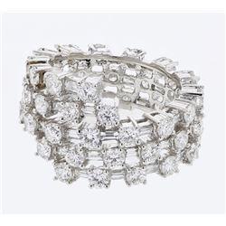 Natural 4.71 CTW Diamond & Baguette Ring 18K White Gold - REF-542H7W