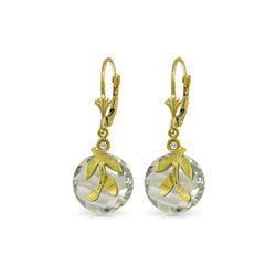 Genuine 10.63 ctw Green Amethyst & Diamond Earrings 14KT Yellow Gold - REF-44F7Z