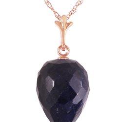 Genuine 12.9 ctw Sapphire Necklace 14KT Rose Gold - REF-22N2R