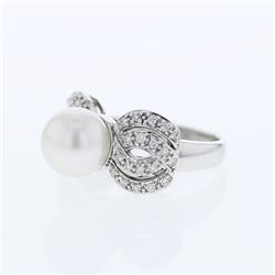 Natural 8.08 CTW Pearl & Diamond Ring 18K White Gold - REF-114X3T