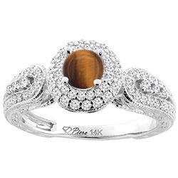 1.10 CTW Tiger Eye & Diamond Ring 14K White Gold - REF-89N2Y
