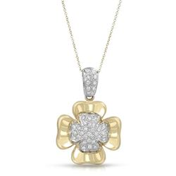 Natural 0.55 CTW Diamond Necklace 18K Two Tone Yellow Gold - REF-195M3F