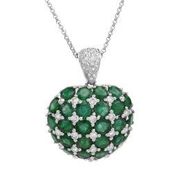 Natural 7.99 CTW Emerald & Diamond Necklace 14K White Gold - REF-196M2F