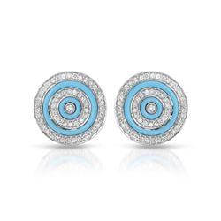 Natural 1.81 CTW Turquoise & Diamond Earrings 14K White Gold - REF-102H6W