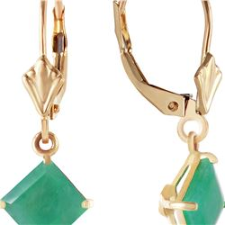 Genuine 2.9 ctw Emerald Earrings 14KT Yellow Gold - REF-50A6K