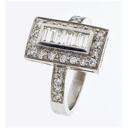 Natural 0.70 CTW Diamond & Baguette Ring Platinum - REF-144H9W