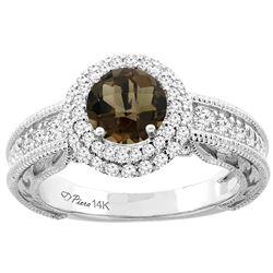 1.45 CTW Quartz & Diamond Ring 14K White Gold - REF-86R6H