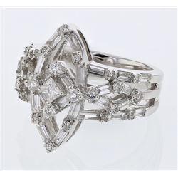 Natural 1.61 CTW Baguette & Diamond Ring 18K White Gold - REF-282M6F