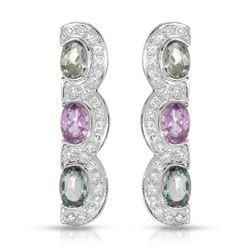Natural 3.86 CTW Multi-Sapphire & Diamond Earrings 14K White Gold - REF-101M7F