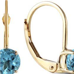 Genuine 1.20 ctw Blue Topaz Earrings 14KT Yellow Gold - REF-23Y2F