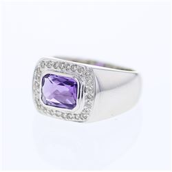 Natural 1.37 CTW Amethyst & Diamond Ring W=11MM 14K Gold - REF-79H2W
