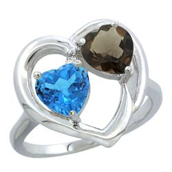 2.61 CTW Diamond, Swiss Blue Topaz & Quartz Ring 10K White Gold - REF-23M7K