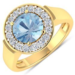 Natural 1.98 CTW Aquamarine & Diamond Ring 14K Yellow Gold - REF-78F8N