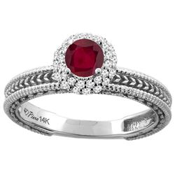 0.85 CTW Ruby & Diamond Ring 14K White Gold - REF-53V7R